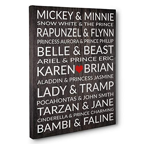 Personalized Gift Wrap - Famous Disney Couples Personalized Wedding Anniversary Gift CANVAS Gallery Wrap