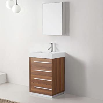 Virtu USA JS 50524 PL 24 Inch Bailey Single Sink Bathroom Vanity,