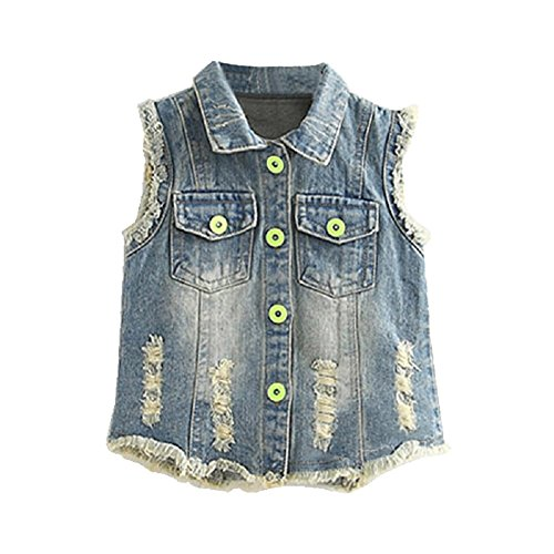Mud Kingdom Girls' Sequin Butterfly Denim Vest Button-down 6T Blue by Mud Kingdom (Image #8)