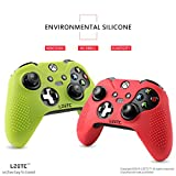 LZETC(TM) Silicone Case 2 Pack Combo for Microsoft Xbox 1 Wireless Gamepad ( with Matching Thumb Grips), Bicolor Red Green