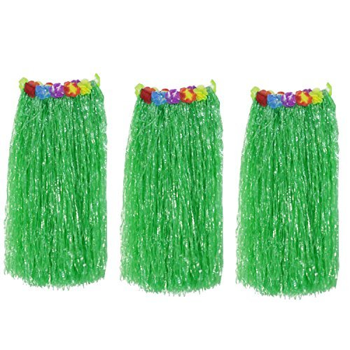 Doubletwo 3 Pack Adult Luau Hula Party Skirts Hawaiian Dancer Skirt with Elastic Floral Waistbands Green W 28