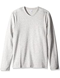 Calvin Klein Men's Solid Ribbed Long Sleeve V-Neck Shirt