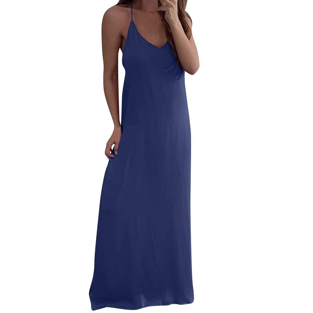Sleeveless Strap Dresses, wodceeke Womens Chiffon Loose Casual Solid Long Maxi Dress(Blue,L)