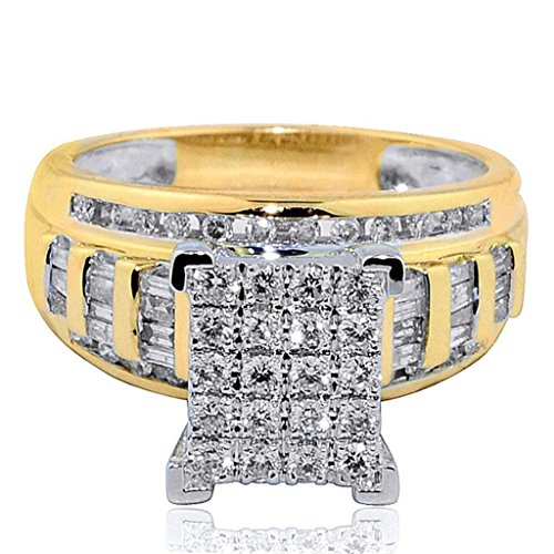 Midwest Jewellery 1cttw Diamond Wedding Ring 3 in 1 Style Engagement & Bands Yellow Gold (Cut Band Princess Diamond)