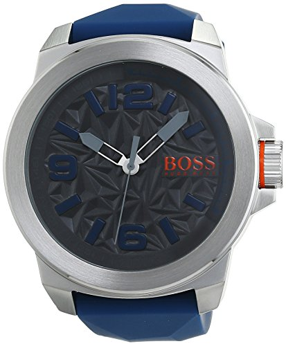 1513355 Watch Hugo boss Men's Orange Stainless steel case, Silicone strap, Patterned Grey dial, Quartz movement, Scratch resistant mineral, Water resistant up to 3 ATM - 30 meters - 100 feet