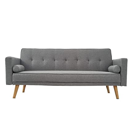 Awesome Wellgarden 3 Seater Sofa Bed Sofa Recliner Couch Sleeper Linen Fabric Sofabed In Grey With 2 Cushion Sofa For Living Room Home Furniture Pabps2019 Chair Design Images Pabps2019Com