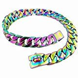 MUJING 25 mm Strong Rainbow Color Tone Stainless Steel Dog Collar Pet Dog Choke Chain Curb Chain Necklace Dog Necklace 40-75 cm(Plating),F