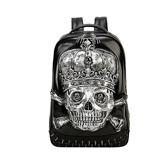 Yy.f Bolso Mochila Cráneo 3D Personalizada Bolsas Bolsos De Los Hombres Mochilas Bolsos De La Computadora Silver