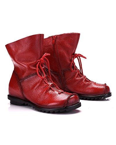 Leather Women's Fleece Duberess Toe Red Boot Cap Side Real Ankle Zipper qIww4dP