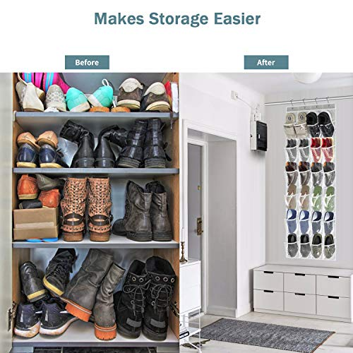 Over The Door Storage Organizer, Hanging Shoe Organizer, Closet Shoe Holders with 24 Clear Pockets, Breathable Non-Woven Fabric Hanging Closets, for Bedroom Closet Bathroom Kitchen Doors (grey)