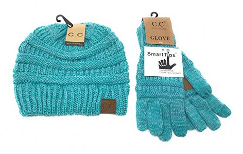 Tip Knit Hat - BYSUMMER C.C Unisex Cable Knit Thick Slouchy Beanie Hat and Samrt Tip Winter Glove Set (800#14tqmint)