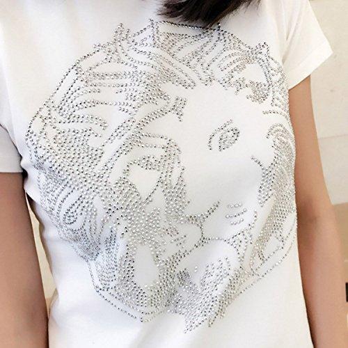 WHTCE La Primavera Y El Verano Albóndiga Perforación En Caliente Camisetas White
