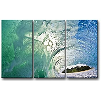 so crazy art 3 piece wall art painting huge ocean green transparent blue wave pictures prints