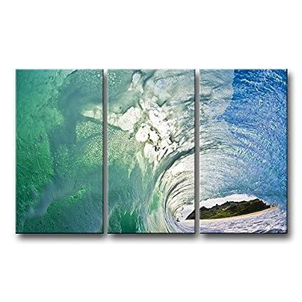 Amazon.com: So Crazy Art 3 Piece Wall Art Painting Huge Ocean Green ...