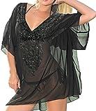ups cap - LA LEELA Bikini Beach Swimwear Cover ups Cap Sleeves Sheer Tunic Kimono Loose Resort