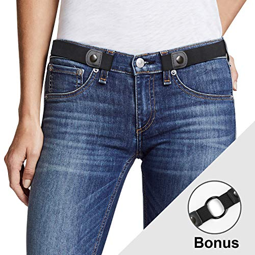 Buckle Free Women Stretch Belt Plus Size No Buckle/Show Invisible Belt for Jeans Pants Dresses - Buckle Front Flat