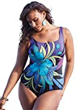 Roamans Longitude Women's Plus Size Tropical Floral Swimsuit Floral Print,22 W