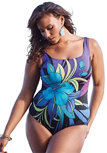Roamans Longitude Women's Plus Size Tropical Floral Swimsuit Floral Print,22 W Roamans Soft Cup Bras