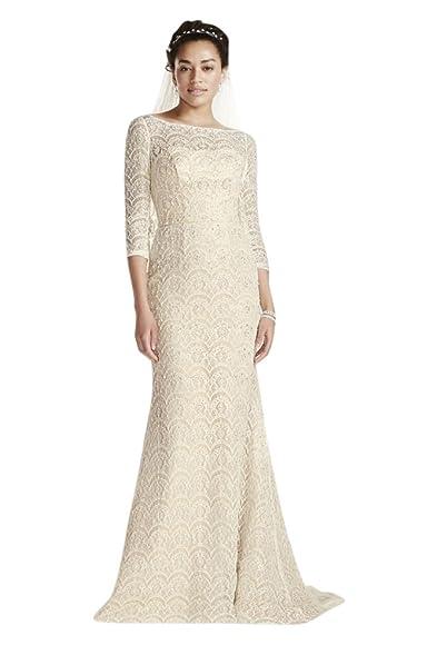 Davids Bridal Oleg Cassini Beaded Lace 3 4 Sleeved Wedding Dress Style CWG711 Solid