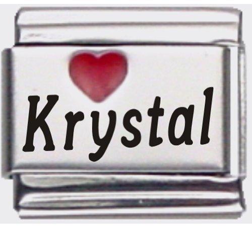 Krystal Red Heart Laser Name Italian Charm Link