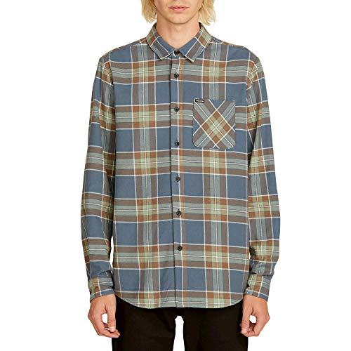 Volcom Men's Caden Flannel Plaid Long Sleeve Shirt Indigo