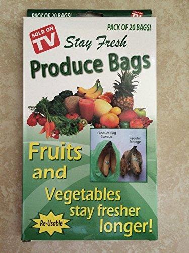 Pack Of 20 Reusable Stay Fresh Green Produce Bags For Fruit & Vegetables (Peak Fresh Produce Bags)
