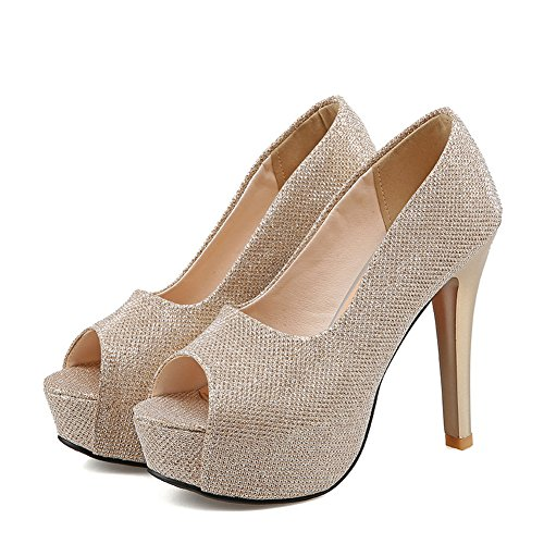 Balamasa Flickor Stilett Peep-toe Plattform Blandningsmaterial Pumpar-shoes Guld