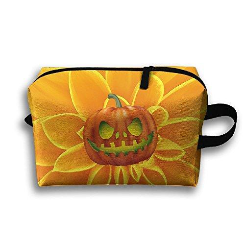 Orange Halloween Pumpkin Travel Makeup Bag Customize 3D Printing Girl' Multifunction Case (Simple Halloween Makeup Ideas For Women)