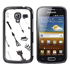 FECELL CITY // Duro Aluminio Pegatina PC Caso decorativo Funda Carcasa de Protección para Samsung Galaxy Ace 2 I8160 Ace II X S7560M // Paper Hand White Gray Deep