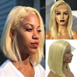 Myfashionhair Brazilian Bob Lace Front Wigs Silky Straight Bob Wig with Lace 12 inch 180% Density Lace Front Wigs Human Short Hair with 13x4 Swiss Lace and Adjustable Cap (#613)