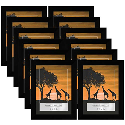 Americanflat 12 Pack Black Picture Frames | Displays 5x7 Inch Photos. Polished Plexiglass. Hanging Hardware Included! from Americanflat