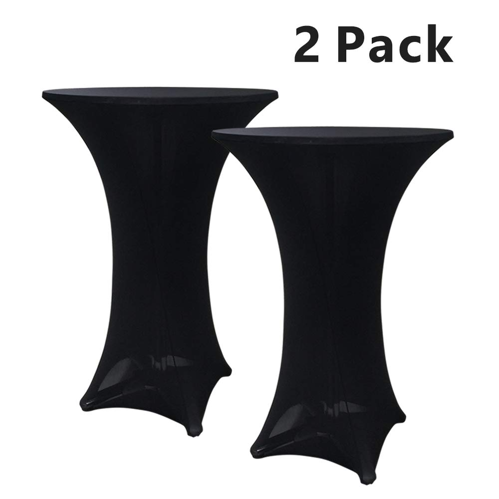 Hipinger 2 Pack 30 inch Highboy Cocktail Round Spandex Table Cover Four-Way Tight Fitted Stretch Tablecloth Table Cloth for Outdoor Party DJ Tradeshows Banquet Vendors Weddings(30''X42''(2PC),Black) by Hipinger