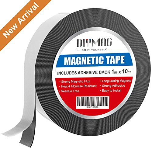 1 Inch x 10 Feet Flexible Magnetic Tape, Thicker and Stronger Adhesive Back Magnet Strip for White Board, Dry Erase, Automotive, Fridge