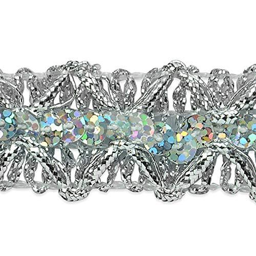 (Sheba Diamond Sequin Braid Trim Silver )