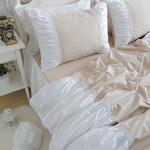 韓式 淡いラクダ色とホワイトの組み合わせ掛け布団カバー べッドスカート 枕カバー 3点セット B074QJTS5V ゼミダブル ゼミダブル