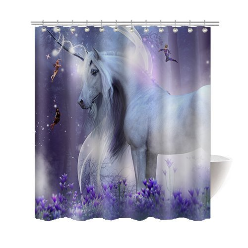 Gwein Kids Teens Bathroom Funny Decoration Unicorn Purple Dream Wizard Home Decor Shower Curtain Polyester Fabric Mildew Proof Waterproof Cloth Shower Room Decor Shower Curtains 66x72 Inches by Gwein