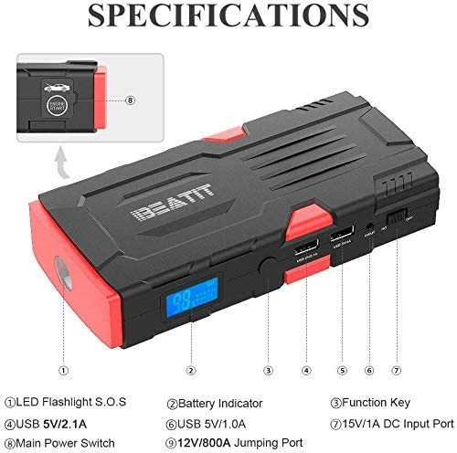 12V Jump Box Portable Power Bank Auto Battery Booster with Intelligent Jumper Cables BEATIT 800A 18000mAh Portable Car Jump Starter Up to 7.5L Gas and 5.5L Diesel