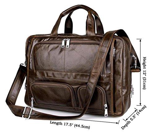 Handmade Laptop Briefcase Shoulder Messenger Beautifully Leather Grain Large Top Bag Genuine Natural dFFxvwqOa