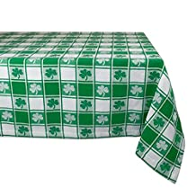 "DII 100% Cotton, Machine Washable, Party, St Patrick's Day & Spring Tablecloth, 60x84"" , Green & White Check with Shamrock, Seats 6 8 People"