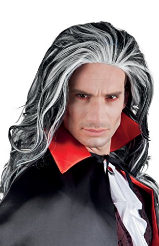 Men Vampire Louis Long Wig Black & White
