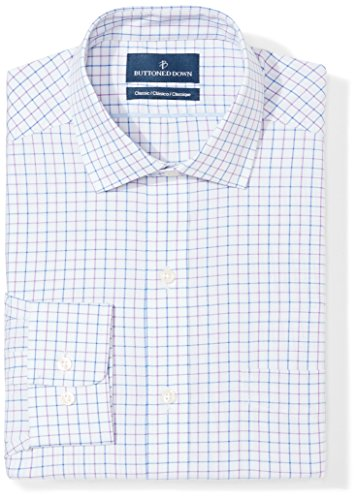 BUTTONED DOWN Men's Classic Fit Spread-Collar Pattern Non-Iron Dress Shirt, Grey/Purple/Blue Tattersall Check, 18