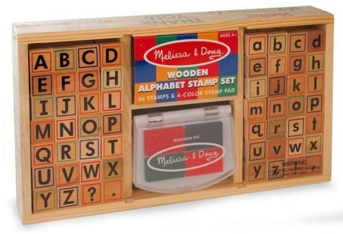 Melissa & Doug Alphabets: Wooden Stamp Set + Free Scratch Art Mini-Pad Bundle [35576]