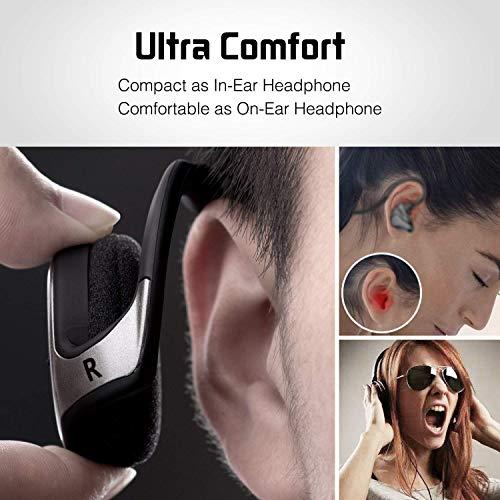 KAMTRON Marathon 2 Bluetooth senza fili per Sport, Pieghevoli, Stereo HiFi e microfono integrato, Nero
