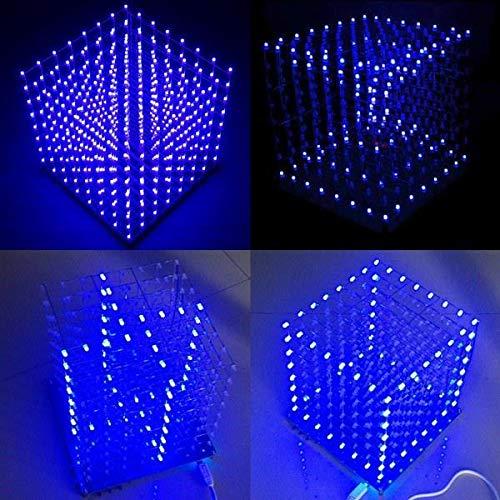 8x8x8 LED Cube 3D Square Blue LED Electronic