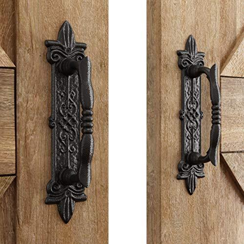 "SMARTSTANDARD Heavy Duty 9"" Antique Barn Door Handle Set of 2, Large Rustic Carved Door Pull, for Gates Garages Sheds, Black Powder Coated Finish"