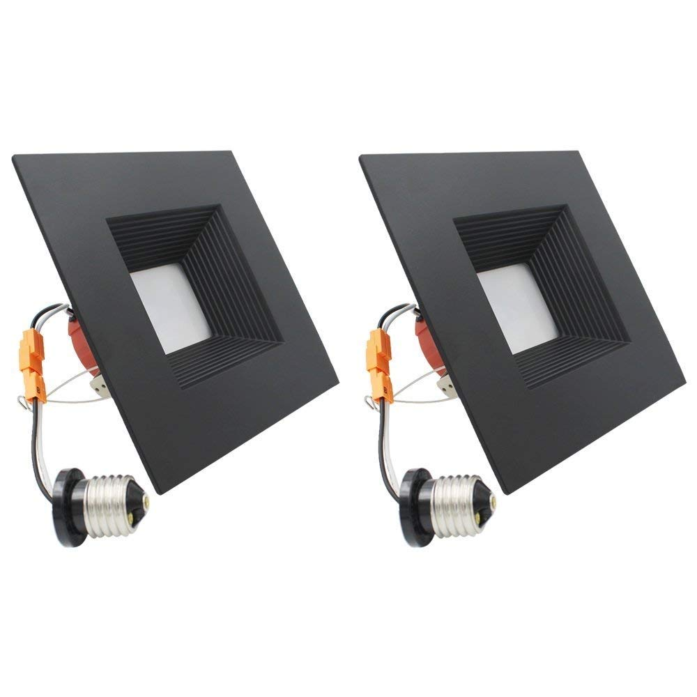 ESD Tech 2 Pack 6'' Inch LED Recessed Down Light Black Square Trim, Dimmable Ceiling Retrofit, Baffle, 3000K, 15W, 1050Lm, Wet Location Rated, Energy Star, ETL Listed