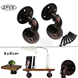 Shelf Brackets,GoYonder Industrial Pipe Floating Shelf Brackets Wall Mounted Pipe Brackets for Steampunk Home Decor ,2 Pack (8x8CM, Bronze Finish)