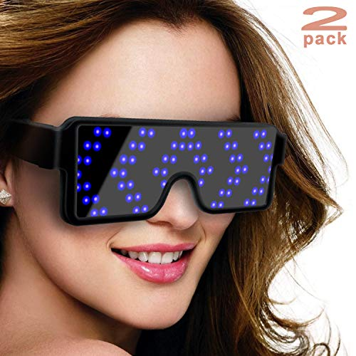 SZOKLED Dynamic LED Glowing Glasses Party Favor, USB Rechargeable LED Light Up Eyeglasses with Flashing Neon, 8 Patterns LED Luminous Glasses for Halloween Nightclub Christmas, 2-Pack (Blue and -