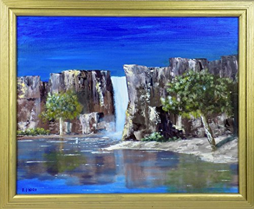 Oasis Original Waterfall (Original Oil Painting Desert Oasis Lake and Waterfall)
