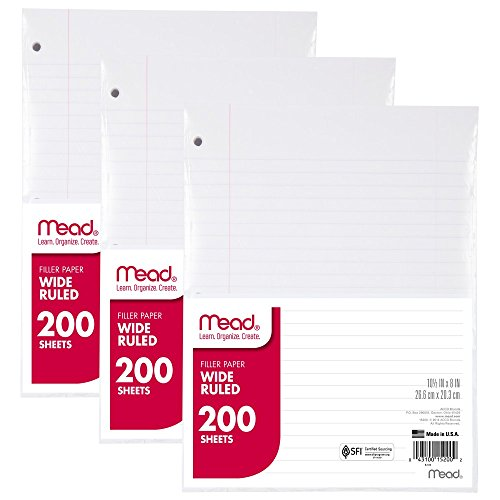 Mead Filler Paper, Loose Leaf Paper, 200-Count, Wide Ruled, 10.5 Inches x 8 Inches, 3-PACK (73183)